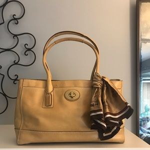 Coach camel colored leather carryall handbag